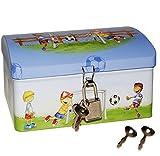 Unbekannt Fußball - Schatztruhe / Schatzkiste / Spardose / Sparbüchse mit Schlüssel und Schloß - Truhe Aufbewahrung für Jungen / Fussball / Fussballer - Kinder Schatzsu..