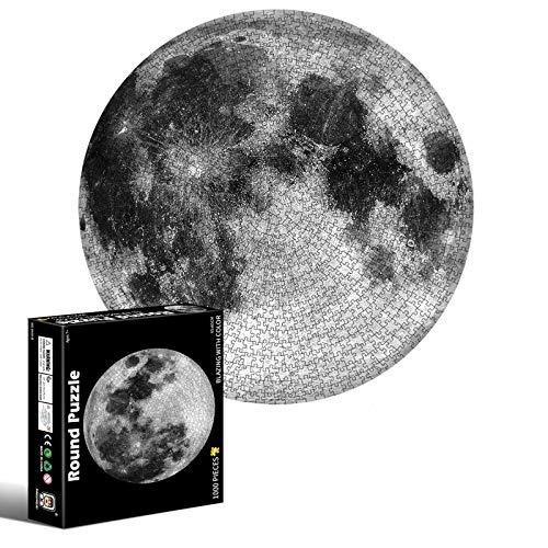 Coriver 1000 Stück rundes Puzzle, rundes Mondpuzzle Farbverlaufspuzzle Pädagogische Herausforderung Intellektuelle Spiele Dekompressionsspielzeug für Erwachsene Kinder