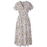 VEMOW Sommer Elegant Damen V-Ausschnitt Urlaub Blumendruck Kleid Casual Täglichen Urlaub Business Arbeit Beach Party Dress(Weiß, 38 DE/M CN)