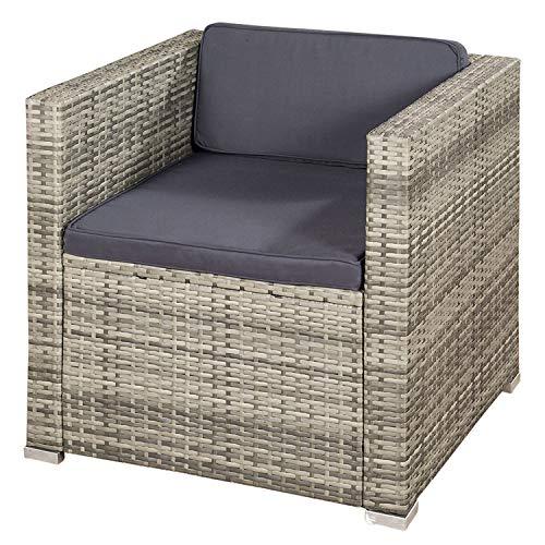 ArtLife Polyrattan Lounge Punta Cana L grau-meliert – Gartenlounge für 4-5 Personen – Gartenmöbel-Set mit Sessel, Sofa, Tisch, Hocker – Bezüge Dunkelgrau - 4