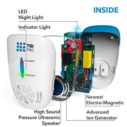 TBI Pro Ultrasonic Pest Repeller Wall Plug-in - Electromagnetic and Ionic Indoor Repellent Anti Mouse, Rats   , Roach, Ants, Mosquito, Cockroach Control - Safe and Quiet Electronic Device - 2000 Sq.ft