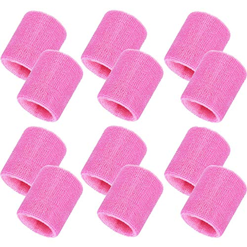 Bememo 12 Pack Sweatbands Sports Wristband Cotton Sweat Band for Men and Women, Good for Tennis, Basketball, Running, Gym, Working Out (Pink)