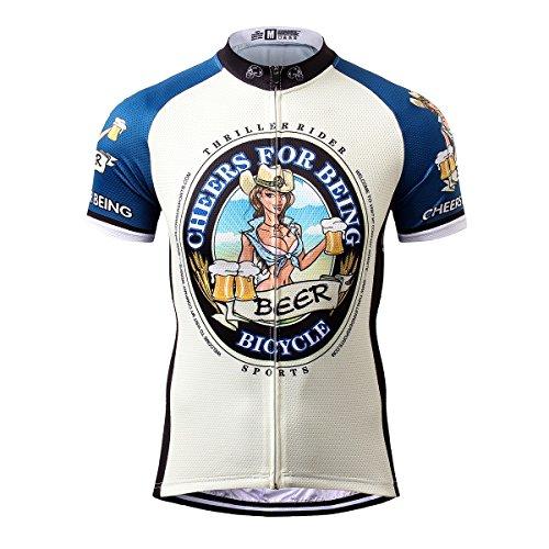 Thriller Rider Sports Uomo Cheers for Being Sport e Tempo Libero Abbigliamento Ciclismo Magliette Manica Corta X-Large