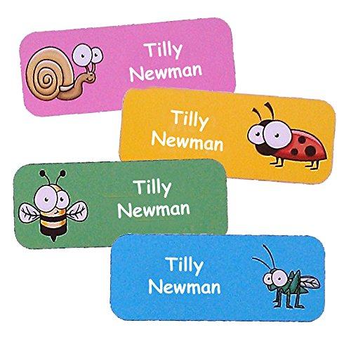 Adesivi personalizzati con nome e cognome del bambino | Adesivi personalizzati impermeabili con motivo insetti (40)