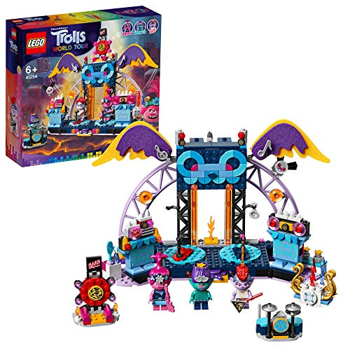 LEGO Trolls World Tour Concerto a Vulcano Rock City, Playset con Poppy, Branch e Barb, Palcoscenico e Chitarre, 41254