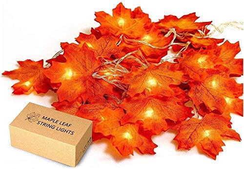UNEEDE Ahornblätter Lichterketten,20 LED Herbst-Ahornblatt-Girlande Lichtern 3AA batteriebetrieben Herbst Blättergirlande Dekoration Lichter für Party,Erntedankfest,Weihnachtsbeleuchtung