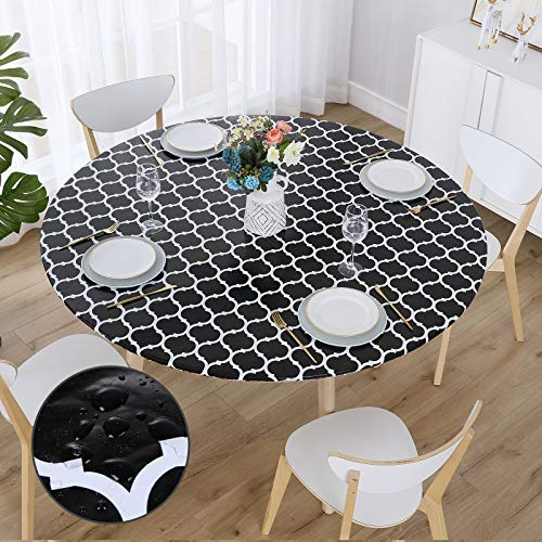 smiry Round Fitted Vinyl Tablecloth - Elastic Edged Flannel Backed Vinyl Tablecloth, Waterproof Wipeable Black Moroccan Trellis Pattern Table Cloth for Outdoor Indoor Room