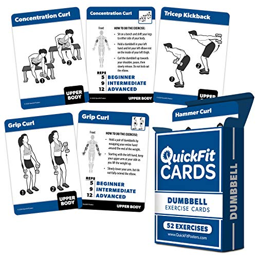 """Dumbbell Exercise Cards - Fitness Playing Cards With Over 50 Dumbbell Workouts - 2.5"""" x 3.5"""" (Standard Playing Card Size)"""