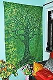 Copriletto matrimoniale con disegno albero della vita verde, design floreale intricato in ...