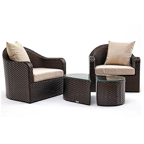 akula Hand Woven Garden Lounge Chair and Coffee Table Set 2 Armchairs with Beige Cushions Glass Weather Resistant Outdoor Living Bistro