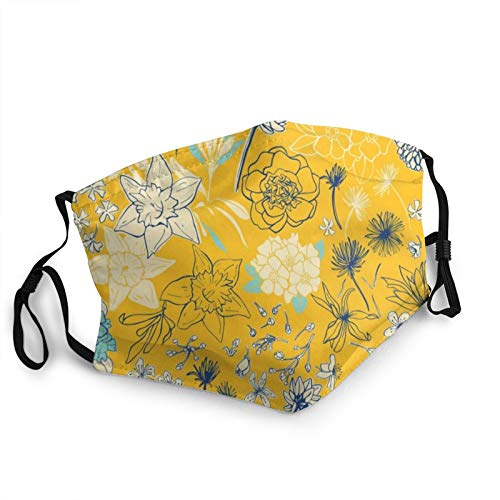 Natalia_Gonzalez Frühlingsblumen Gelb und Blau Doppellagige Gesichtsmaske mit Ohr...