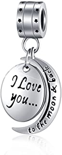 """I Love You To the Moon and Back"" for Mom Women Girls 925 Sterling Silver Dangle Charm Fit Pandora Bracelets Charms Necklace Chain"