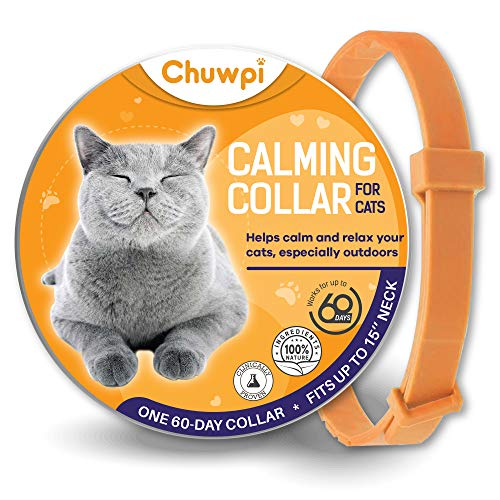 CHUWPI Calming Collar for Cats - Pheromone Calm Collars, Anxiety Relief Fits Small Medium and Large Cat - Adjustable and Waterproof with 100% Natural
