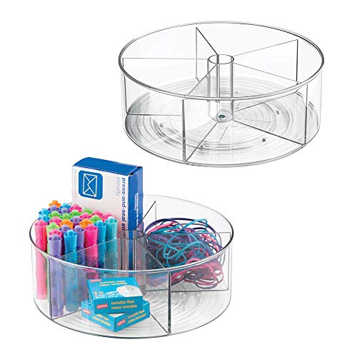 mDesign Deep Plastic Lazy Susan Turntable Storage Container - Divided Spinning Organizer for Home Office Supplies Pens Erasers Tape Colored Pencils - 2 Pack - Clear