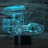 3D mit lkw Optische Illusions-Lampen, Tolle 7 Farbwechsel Acryl berühren Tabelle Schreibtisch-Nachtlicht mit USB-Kabel für Kinder Schlafzimmer Geburtstagsgeschenke Geschenk