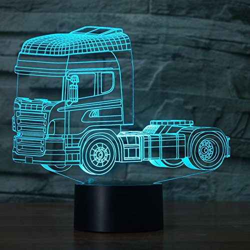 3D-Nachtlicht Dekolicht Schwerer Truck Hunde-Motiv Illusions-Lampe mit 7 Farbwechseln LED mit Touch-Funktion USB-Tisch-Leuchte Geschenk für Kinder Spielzeug-Dekoration als Weihnachts Valentinstags