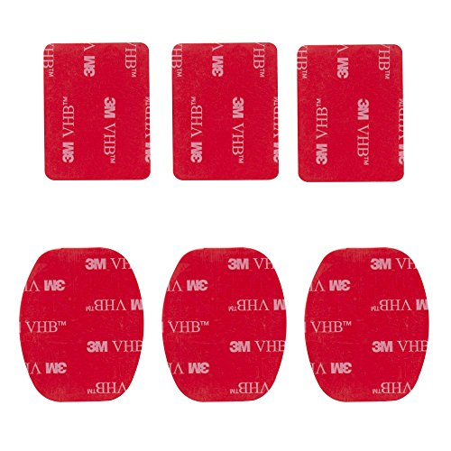 Mantona 3M Klebebepad 6 Stück (geeignet für GoPro Hero 6 5 4 3+ 3 2 1, Session und andere kompatible Action Cams)