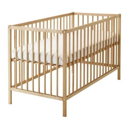 IKEA verstelbaar babybed SNIGLAR bedje 60 x 120 cm roosterbed van massief beuken in hoogte verstelbaar