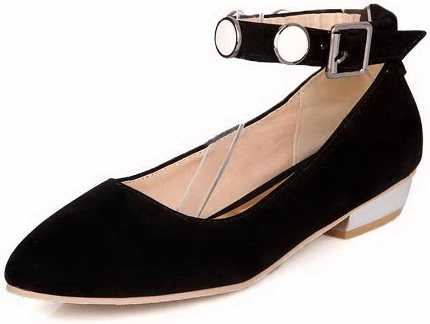 AllhqFashion Women's Low Heels Solid Buckle Microfiber Pointed Closed Toe Pumps-shoes