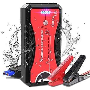 NWOUIIAY Avviatore di Emergenza Impermeabile Jump Starter 12V 1000A Corrente di Picco 13200mAh Avviatore Auto Portatile per Motori Diesel 5.0L e Benzina 6.0L Porta USB QC 3.0 & Type C