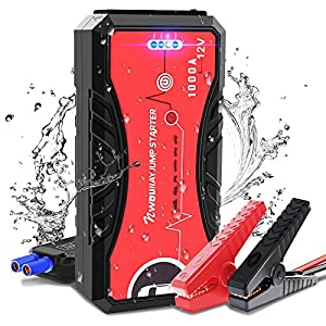 NWOUIIAY Arrancador de Coches 13200mAh 1000A Impermeable Arrancador Batería Coche 12V (hasta 6.0L Gas o 5.0L Diesel) Jump Starter Portátil Pinzas Inteligentes 4 Modos Luz Carga Rápida QC3.0 & Type-C