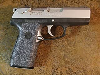 Sand-Paper-Pistol-Grips' (Brand) - Black Textured Rubber Peel and Stick Grip Enhancements for Ruger P95 and P95DC 9mm