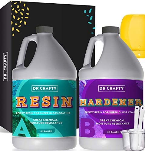 DR CRAFTY Clear Epoxy Resin Crystal Clear Art Resin Epoxy Clear 2 Part Epoxy Casting Resin Kit 1 Gallon Countertop Epoxy Wood Epoxy Resin Kit with Bonus Measuring Cups, Plastic Spreader and Sticks
