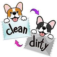 Sylfairy 3.5インチ 食器洗い機マグネット Clean Dirtyサイン 最強マグネットサイン 両面フリップインジケーター キッチンラベル ホーム整理用 面白いユニコーン猫 Clean Dirty 食器洗い機マグネット