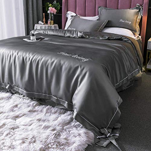 XYSQWZ Boys Bed Sets Single,Solid Satin Silk Bedding Set,(King,220 * 240CM) Home Textile King Bed Clothes Flat Sheet Pillowcases Gray 1.8m(Fitted Sheets)