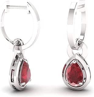 ruby drop earrings white gold