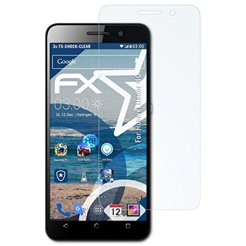 atFolix Schutzfolie kompatibel mit Huawei Honor 4C Panzerfolie, ultraklare & stoßdämpfende FX Folie (3X)