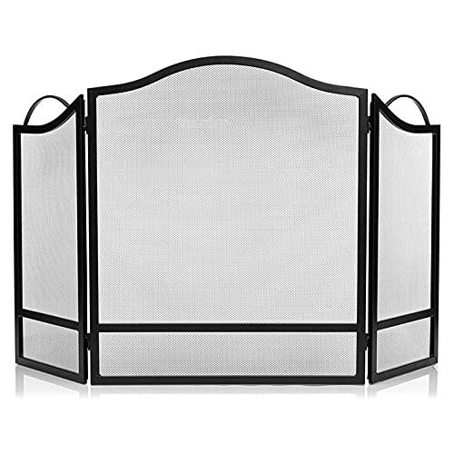 WXL Pantalla de Chimenea de 3 Paneles Cubierta de protección de Chispa Negra (Color : Black, Size : 24.4 * 11.8 * 29.1 Inches)