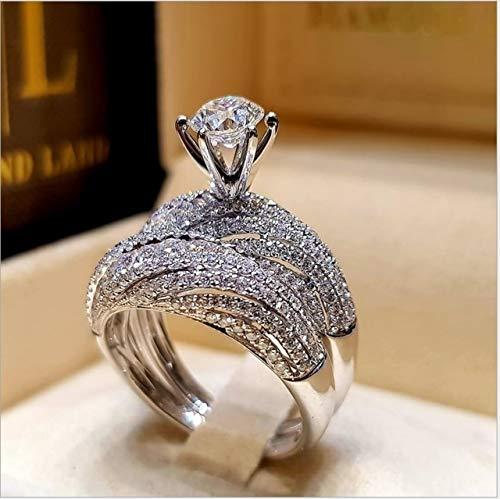 YAHLSEN E 2 PCS Vendimia de Las Mujeres 925 Anillo de Bodas de Diamante de Plata, tamaño: 10