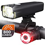 BrightRoad Rechargeable 800 Lumens Bike Light Front and Back Bicycle Lights USB Headlight & Tail Lights IPX6 Waterproof for Cycling – Strong Led Flashlights Increase Visibility Safety Rear Light
