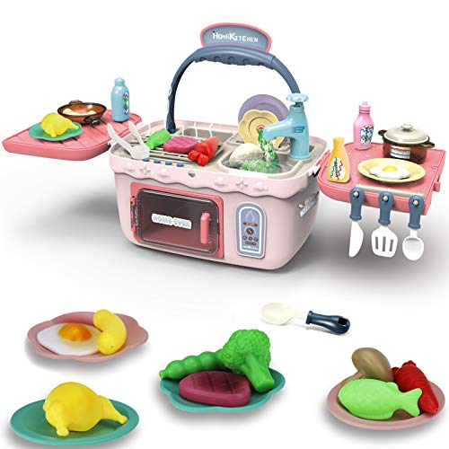 Yoego Kids Picnic Toy Kitchen PlaySet Portable Picnic Basket Toys with Color Changing Food Waterproof Water Tap etc Fun with Friends Toy Kitchen Sets Gift for Kids Boys Girls26 Pack