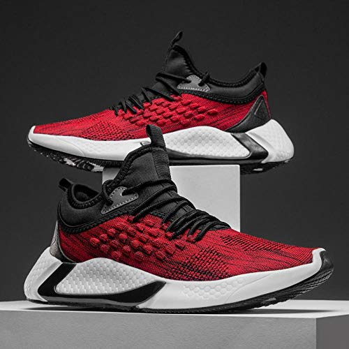 Aerlan Running Shoes with Air Padding,Zapatos Deportivos para Correr,Men's Shoes Fashionable and Comfortable Flying Woven Sports Shoes Casual Shoes-Red_43#