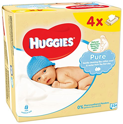 Huggies Pure Quattro - Lote de 2 toallitas (4 paquetes de 56 unidades)