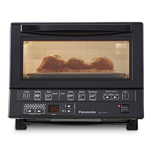 Panasonic NB-G110P-K FlashXpress Toaster Oven with Double Infrared Heating and Removable 9-Inch Inner Baking Tray, 1300W, 4-Slice, Black