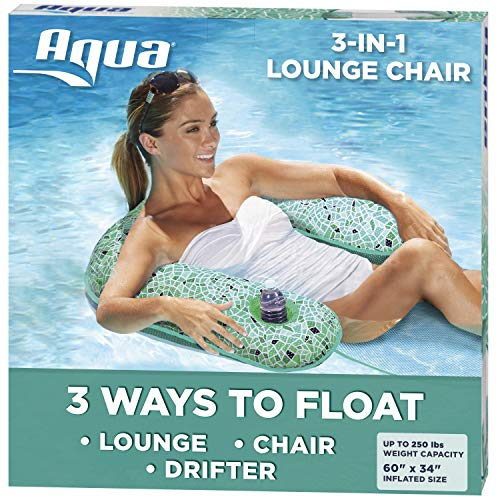 Aqua Mosaic 3-in-1 Pool Chair Lounge, Inflatable Pool Float, Multi-Purpose Pool Chair (Lounge, Drifter, Chair), Green Mosaic