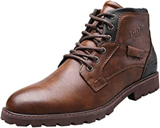 Men Pu Leather Lace-up Men Shoes Vintage British Military Boots Autumn Winter Male Casual Motorcycle Boot