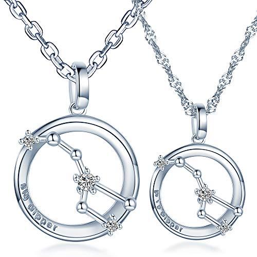Infinito U - Colgante Pareja de Plata de Ley 925 Colgante Osa Mayor con Diamantes Regalo de San Valentín para Hombre y Mujer