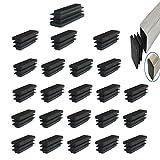 YouU 40x15mm Rettangolo nero Tappo di Plastica Tappo Terminale Mobili Sedia Piedino Copertura Tappo Inserti Tubi Tappo Terminale 24 pezzi