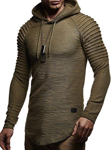 Leif Nelson Herren Kapuzenpullover Slim Fit Baumwolle-Anteil Moderner weißer Herren Hoodie-Sweatshirt-Pulli Langarm Herren schwarzer Pullover-Shirt mit Kapuze LN8128 Khaki Small