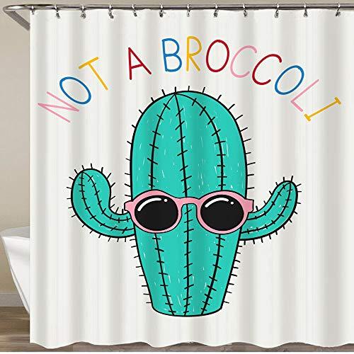 KGSPK Cortinas de Ducha,Gafas de Sol Lindas del Desgaste del Cactus con Las Palabras,Impermeable Cortinas Baño y Lavables Cortinas Bañera 180x180CM