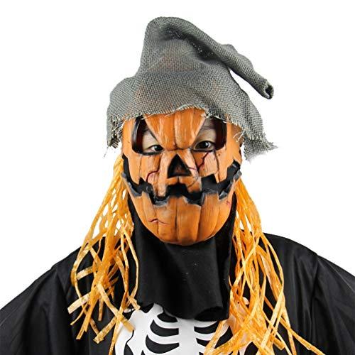 Holibanna Halloween Kürbis Kopf Vogelscheuche Maske mit Hut gruselig Kostüm Requisiten für Neuheit Thema Party Latex
