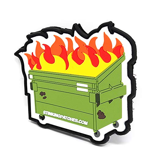 Dumpster Fire Hook and Loop Patch | PVC Rubber Tactical Patch | Funny Morale Patch
