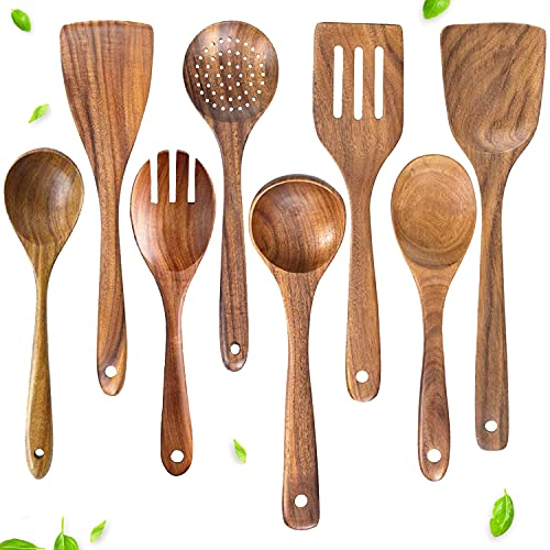 Wooden Spoons Cooking Utensils Set by HXCO, Nonstick Teak Cooking Utensils Set, Kitchen Tools for Nonstick Cookware and Wok (8 Piece Set)