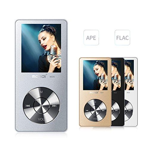MYMAHDI Reproductor de música MP3 / MP4, reproductor de audio portátil de 8GB con visor de fotos, grabadora de voz, radio FM, reproducción A-B, E-book, altavoz incorporado, auriculares provistos (ampliable hasta 128 GB), plateado