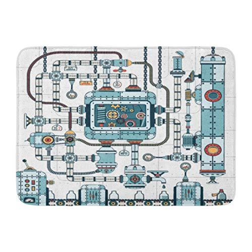 Paillassons Tapis de bain Tapis de porte extérieur / intérieur Fantastique complexe Steampunk Machine faite de tuyaux de verrouillage Câbles Dispositifs et accessoires Convoyeur Décor de salle de bain