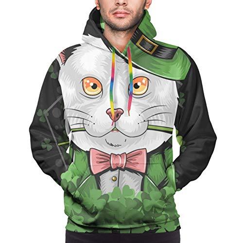 St Patrick S Day Cute Cat Herren Hoodies Lustige Coole Grafik Sweatshirts 3D Druck Lange Ärmel Casual Kleidung mit großen Taschen Gr. XXXL, Schwarz